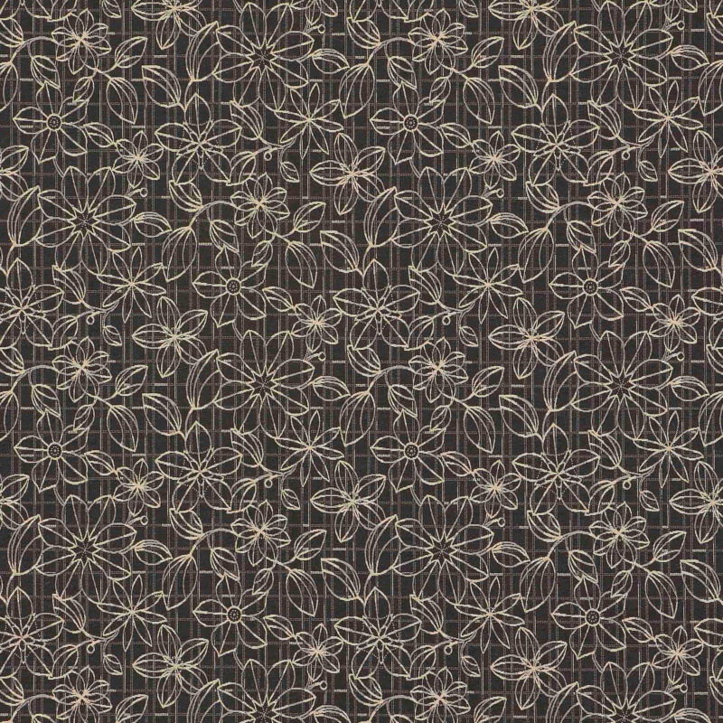 Blueprint Floral Black Woven Flat Upholstery Fabric